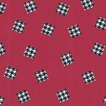 Red and Black Houndstooth Fabric | Black Houndstooth Fabric - Print #1723