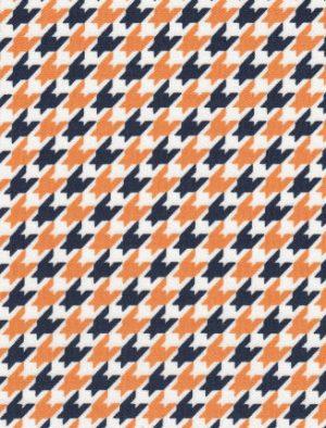 Orange and Navy Houndstooth Fabric | Orange and Navy Fabric