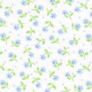 Blue and Green Floral Fabric | Floral Print Fabric - Print #1764