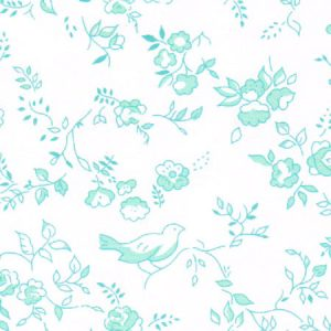 Aqua Floral Fabric | Wholesale Floral Fabric - Print #1779