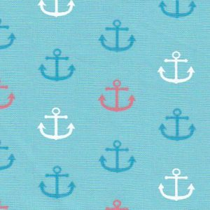 Anchor Print Fabric: Blue Anchor Fabric | Nautical Fabric - 100% Cotton