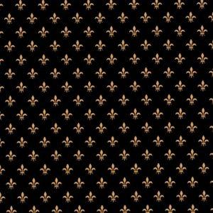 Black and Gold Fleur De Lis Fabric | Fleur De Lis Pattern Fabric