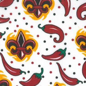 Chili Pepper Fabric - Fleur De Lis | Red Pepper Fabric