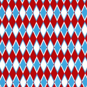 Diamond Print Fabric - Turquoise and Red | Christmas Fabric
