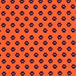 Orange Paw Print Fabric | Paw Print Fabric - Print #1871