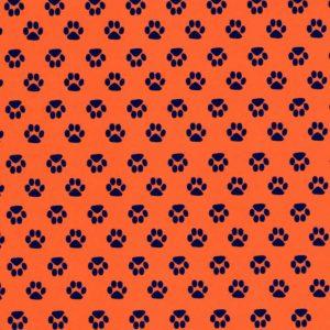 Orange Paw Print Fabric | Paw Print Fabric - Print #1871