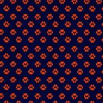 Orange Paw Print Fabric | Orange and Blue Fabric
