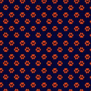 Orange Paw Print Fabric | Paw Print Fabric - Print #1872