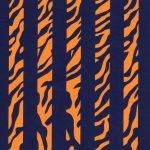 Tiger Stripe Fabric: Print 1874 | Orange and Navy Fabric