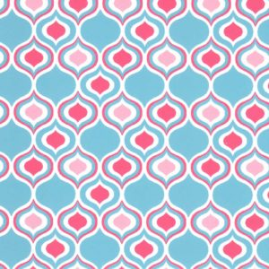 Ogee Fabric: Coral and Turquoise | Ogee Print Fabric - 100% Cotton