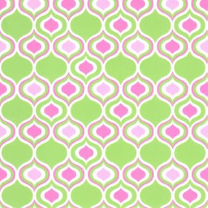 "Ogee Fabric - Lime & Hot Pink Ogee | Lime and Pink Fabric - 60"" Wide"