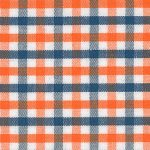 Orange and Navy Check Fabric - #T12 | Orange and Navy Fabric