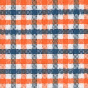 Orange and Navy Check Fabric - #T12 | Orange and Navy Fabric