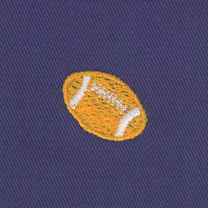 Embroidered Twill: Football on Purple Twill   Cotton Twill Fabric Wholesale