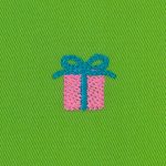 Embroidered Twill - Gift Box on Lime | Twill Fabric Wholesale
