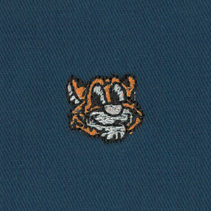 Embroidered Twill - Orange Tiger on Navy | Cotton Twill Fabric Wholesale