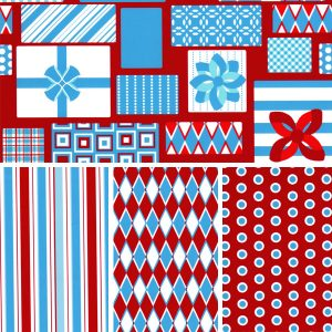 Christmas Themed Fabric - Present Collection: Turquoise & Red