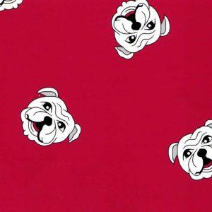 English Bulldog Fabric: Red | Dog Fabric Wholesale