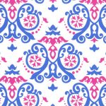 1894 - Royal and PInk Geometric Fabric - Wholesale Cotton Fabric - White Background