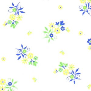 1908 - Blue and Yellow Floral Fabric - Wholesale Cotton Fabric - Green Stems and White Background