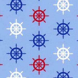 Ships Wheel Fabric: 100% Cotton   Nautical Fabric Prints