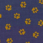 Printed Denim Fabric - Gold Paw Print | Wholesale Denim Fabric