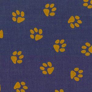 Printed Denim Fabric - Gold Paw Print | Denim Fabric Wholesale