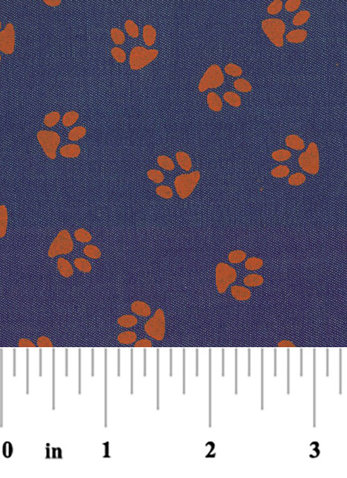 Printed Denim Fabric - Orange Paw | Orange Paw Print Fabric