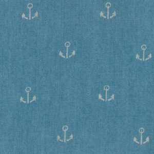 Printed Denim Fabric - Anchor Design | Anchor Print Fabric - 100% Cotton