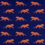 Orange Tiger Print Fabric: 100% Cotton | Mini Orange Tiger on Navy
