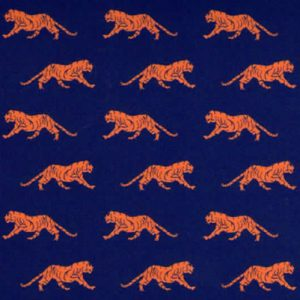 Tiger Fabric - Mini Orange Tiger on Navy - Print 1932