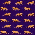 Tiger Fabric - Mini Gold Tiger on Purple | Tiger Print Fabric