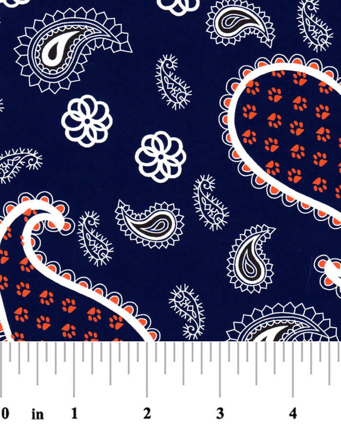 Paisley Fabric - 100% Cotton | Orange and Blue Paisley Fabric