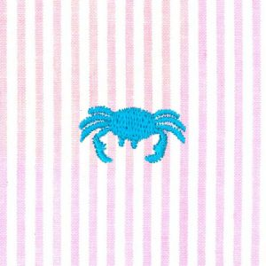 Crab Embroidered Seersucker Fabric | Embroidered Seersucker Fabric