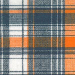 Madras Plaid Fabric - Orange and Blue | Madras Fabric Wholesale
