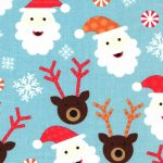 Santa Claus Fabric | Reindeer Fabric | Christmas Cotton Fabric