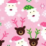 Santa Claus Fabric - Pink | Christmas Cotton Fabric - 100% Cotton