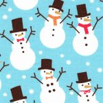 Snowman Print Fabric | Christmas Cotton Fabric - 100% Cotton