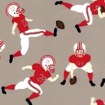 Football Player Fabric - Red & Grey | Football Fabric Cotton
