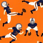 Football Player Fabric: Orange & Navy | Football Print Fabric
