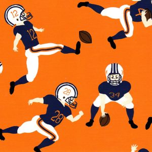 Football Player Fabric: Orange & Navy | Football Print Fabric