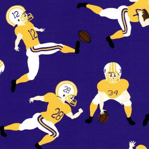 Football Player Fabric: 100% Cotton | Purple and Gold Fabric