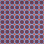 Orange and Navy Geometric Fabric | Orange and Blue Fabric - 1964