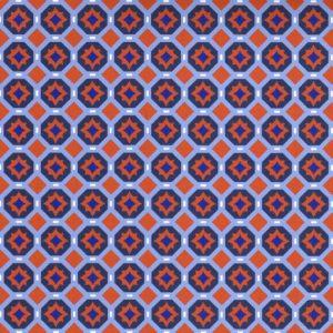 Orange and Navy Geometric Fabric | Orange and Blue Fabric - 1964