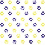 Purple and Gold Paws Fabric | Purple and Gold Fabric: Print #1967