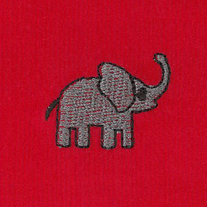 Embroidered Corduroy Fabric - Elephant on Red | Elephant Fabric