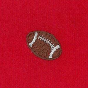 Embroidered Corduroy Fabric - Football on Red   Football Fabric