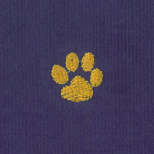 Embroidered Corduroy Fabric- Gold Paw on Purple| Paw Print Fabric
