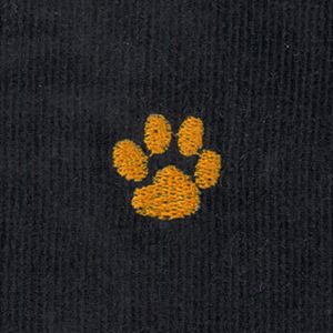 Embroidered Corduroy Fabric - Orange Paw | Paw Print Fabric