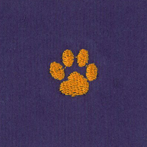 Embroidered Corduroy Fabric - Paw | Paw Print Fabric - Orange Paw on Purple